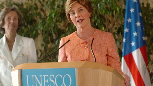 Laura Bush en la Unesco
