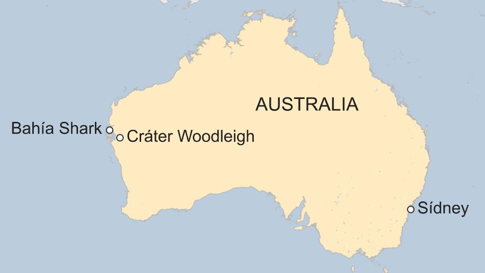 Mapa cráter Woodleigh, Australia.