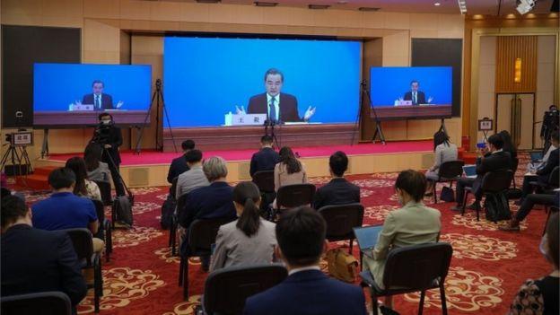 Wang Yi en una rueda de prensa