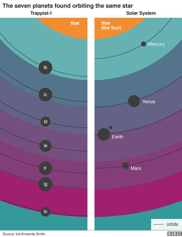 Graphic showing the orbits of the seven planets in the Trappist-1 system