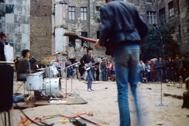 An outdoor punk concert in East Berlin (1985)