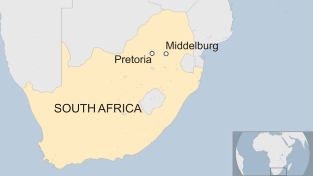 A map showing the location of Middelburg relative to Pretoria