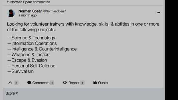 Screen grab of social media post in which 'Spear' asks for volunteers with knowledge of science, technology, weapons, escape, personal self defence
