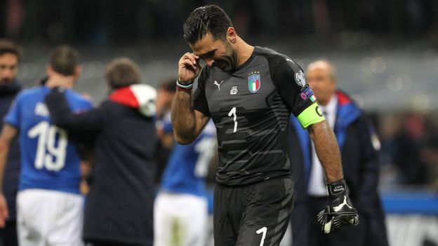 Gianluigi Buffon of Italy shows his dejection shows his dejection at the end of the FIFA 2018 World Cup Qualifier Play-Off: Second Leg between Italy and Sweden at San Siro Stadium on November 13, 2017 in Milan