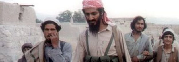 Bin Laden and followers in 1989 image in Afghanistan