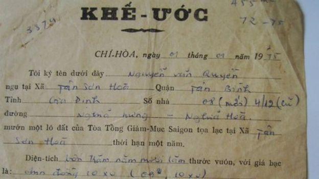 Khế ước mướn đất của một người dân với Tòa Tổng Giám mục Sài Gòn vào 1975
