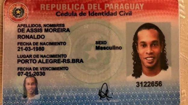 Photograph of a Paraguayan ID document shared by the Paraguayan authorities bearing Ronaldo's name