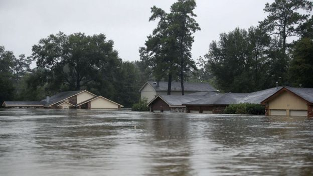 Casas inundadas en Texas.