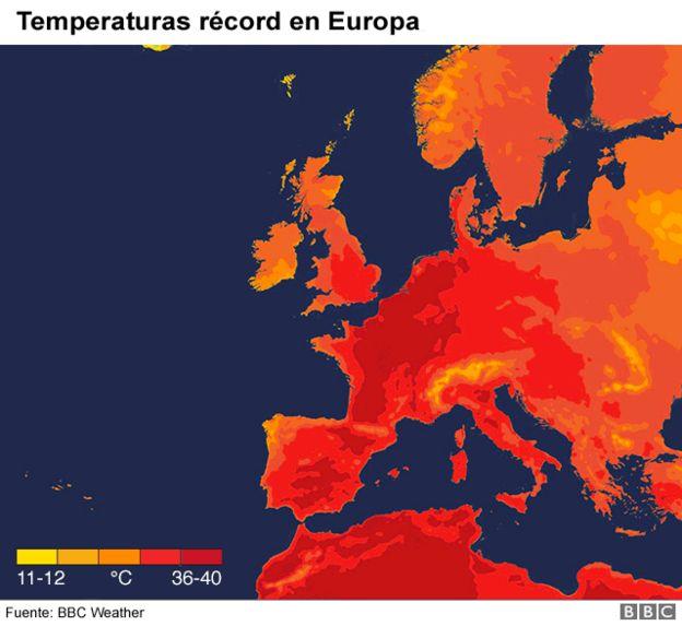 Mapa de altas temperaturas en Europa