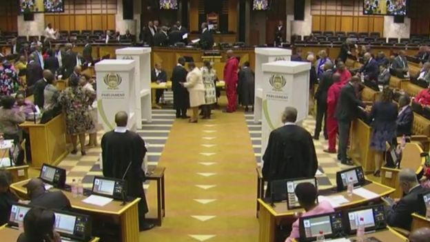 The voting booths out on the floor