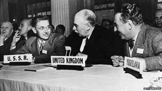 British economist John Maynard Keynes (centre) attends the UN conference at Bretton Woods, New Hampshire, July 1944