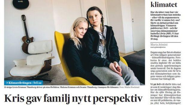 格蕾塔·桑伯格(Greta Thunberg)和母親
