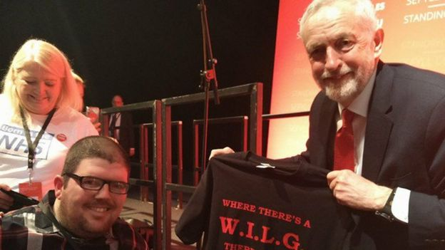 Campaigner Nathan Lee Davies with Jeremy Corbyn