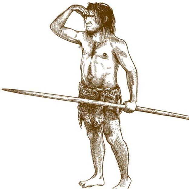 Ilustración hombre en la prehistoria.