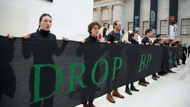 Activists protest against oil company BP in 2016
