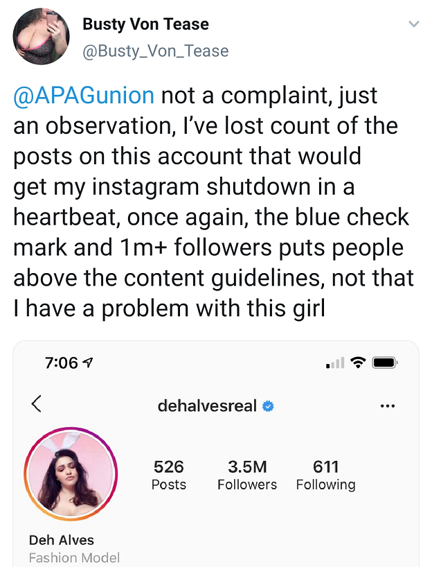 A post by adult performer Busty von Tease, complaining about an explicit post by a fashion model. Adult performers say that they are unfairly treated compared to mainstream models and celebrities