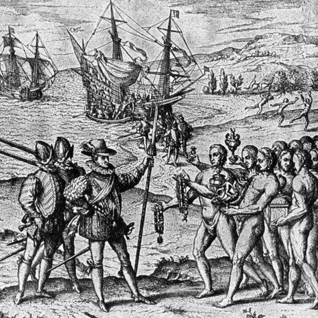 Grabado que muestra españoles con nativos americanos del Caribe.