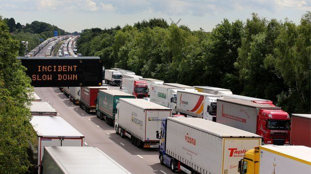 Lorries queuing in Kent