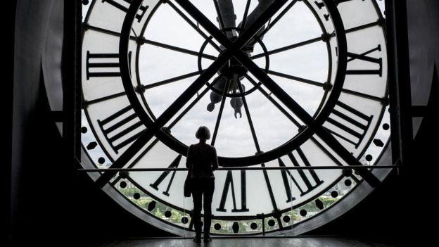 Pessoa com fone de ouvido olha para um relógio