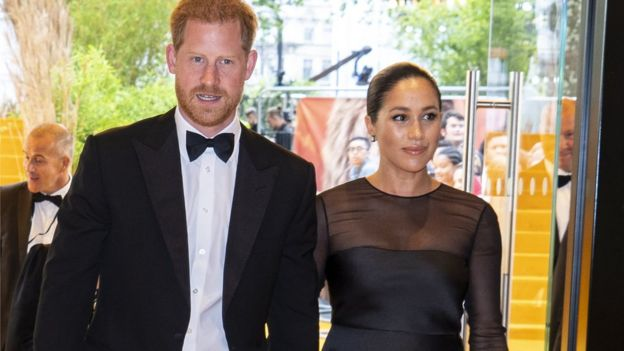 The Duke and Duchess of Sussex attend a film premier in London's Leicester Square