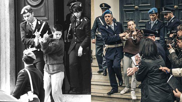 """La icónica foto de Soledad tomada en 1998 (agencia """"Reporters"""") a la izquierda y la recreación de la escena en la película """"Soledad"""", a la derecha."""