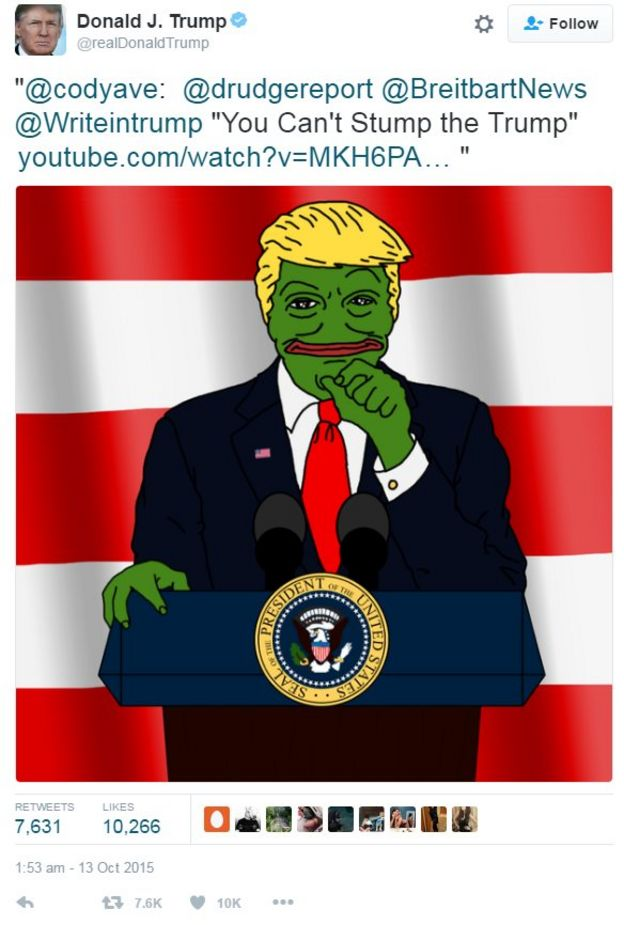 Donald Trump re-tweeted a Pepe-style cartoon of himself