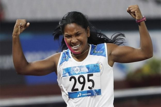 Swapna Barman Of India Celebrates After The M Event Of The Heptathlon At The  Asian