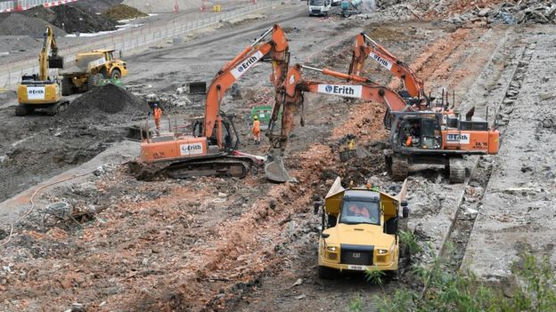 Images show the demolition work going on at the HS2 Old Oak Common site.