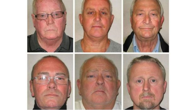 Осужденные грабители с Хаттон-Гарден. Слева направо, верхний ряд: Джон Коллинз, Дэнни Джонс, Терри Перкинс. Нижний ряд: Карл Вуд, Уильям Линкольн, Хью Дойл
