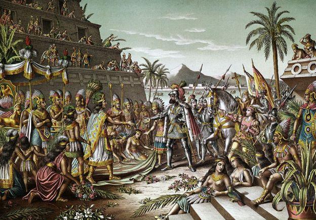 """Esta litografía a color de 1892, """"Entrada de Cortes a México"""", ilustra el primer encuentro entre Cortés y Moctezuma, el 8 de noviembre de 1519."""