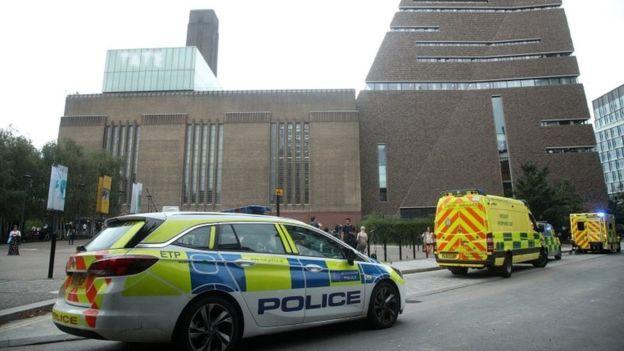 Police car and ambulances outside the Tate Modern