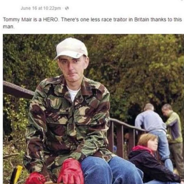 Picture of Tommy Mair posted on social media by the teenager