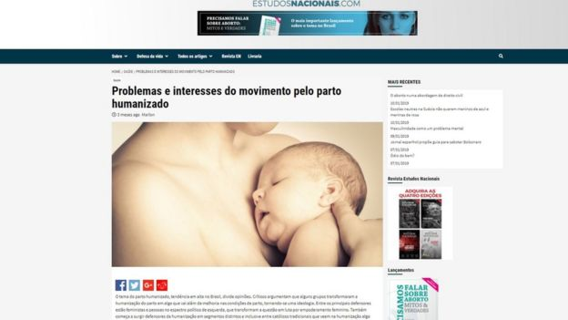 Captura de tela mostra site Estudos Nacionais com título: 'Problemas e interesses do movimento pelo parto humanizado'