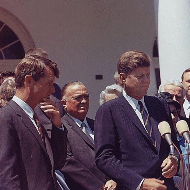 President John F Kennedy (R) with Attorney General Robert F Kennedy