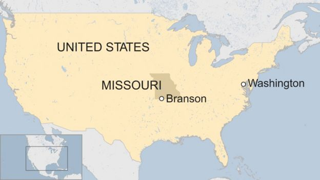 A BBC map showing the location of Branson, Missouri
