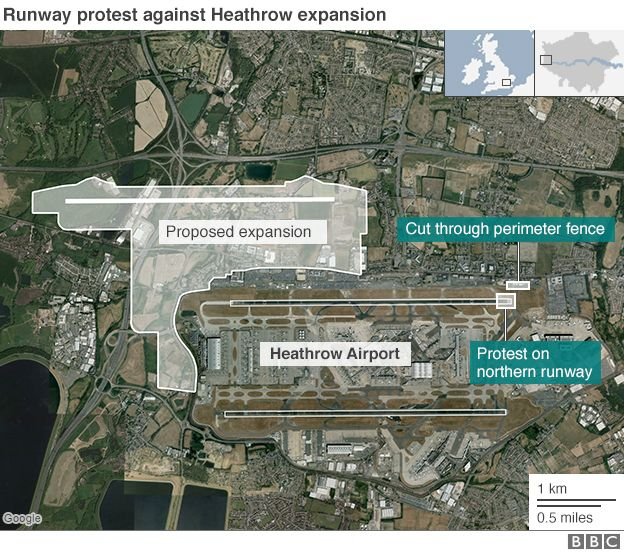 Map showing the location of a protests against the expansion of Heathrow and the area of the proposed expansion
