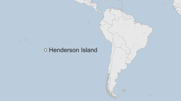 A map showing Henderson Island approximately 5000 kilometres off the coast of South America