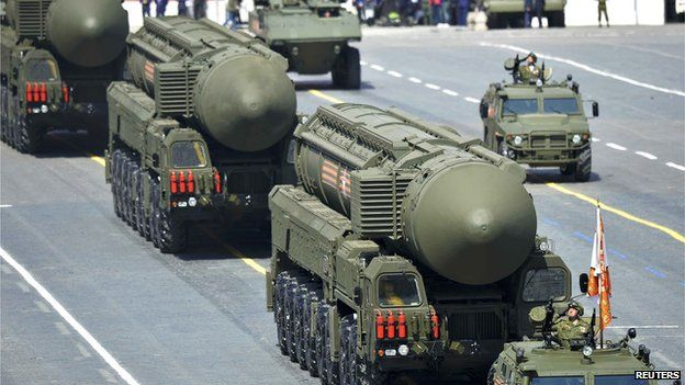 Russian RS-24 Yars/SS-27 Mod 2 solid-propellant intercontinental ballistic missiles drive during the Victory Day parade at Red Square in Moscow, Russia, 9 May 2015