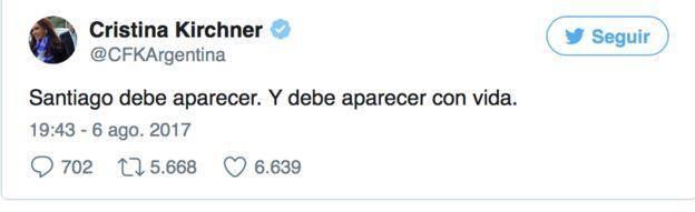 Tuit de Cristina Kirchner