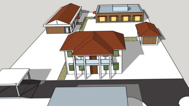 Computer-generated image of housing and clinic plan
