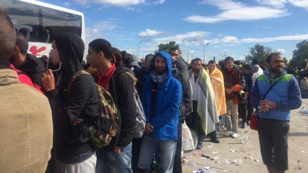 Migrants at Nickelsdorf, Austria, 6 September 2015