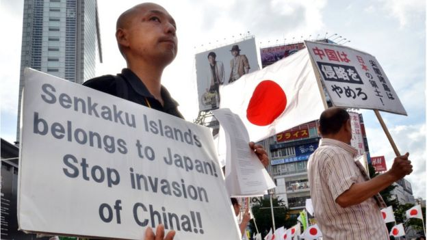 Japanese protesters for the Senkaku islands