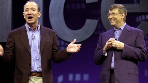 Image result for jeff bezos and bill gates