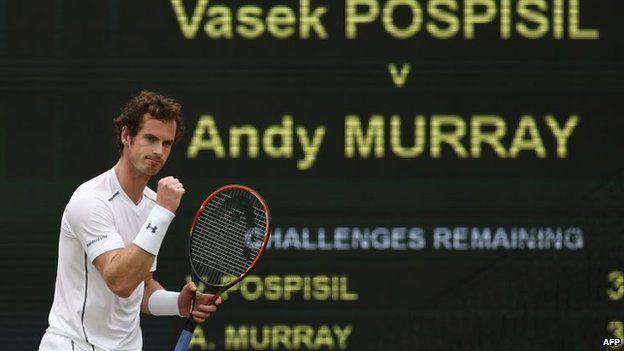 Andy Murray in the men's quarter final match at Wimbledon
