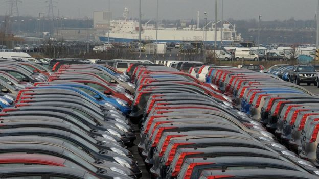 Cars at Tyne docks