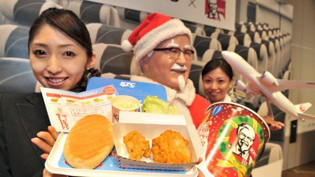 Bandeja com frango frito no Japão