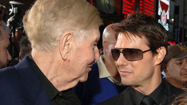 Sumner Redstone and Tom Cruise attend a screening of Mission Impossible III in 2006