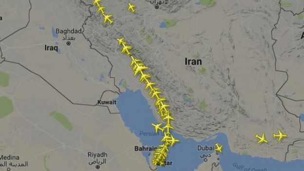 Map Showing Route Of Qatar Airways Flights On Tuesday 6 June