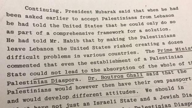 وثائق سرية بريطانية: مبارك قبل طلب أمريكا توطين فلسطينيين بمصر مقابل إطار لتسوية شاملة للصراع مع إسرائيل _98961325_mediaitem98961324