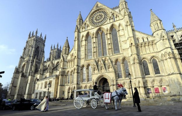 The funeral cortege for seven-year-old Katie Rough leaves York Minster following a funeral service